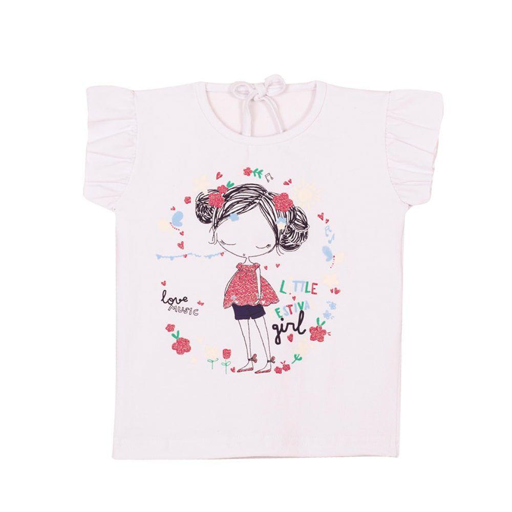Blusa Garota Infantil Menina Branco
