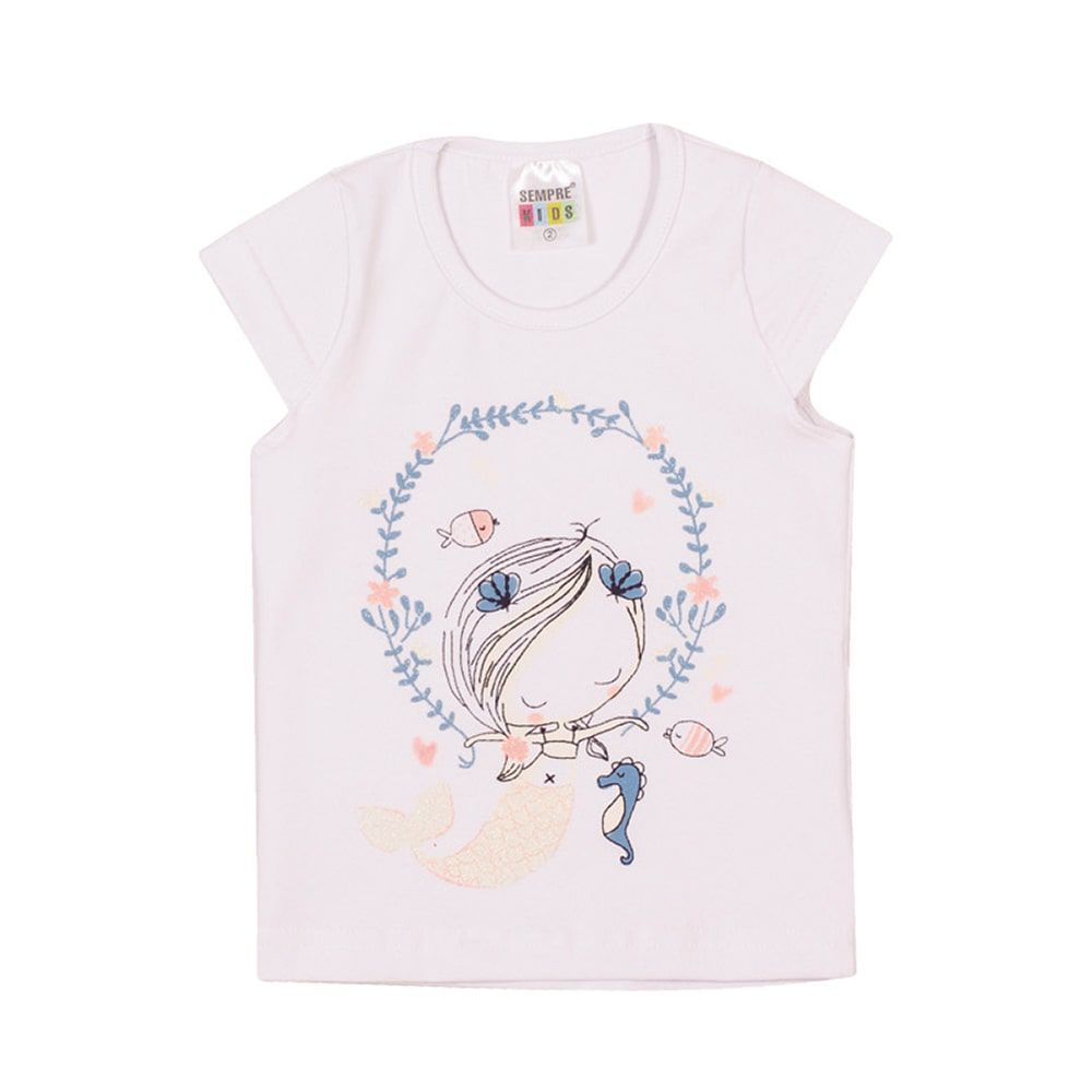 Blusa Sereia Infantil Menina Branco