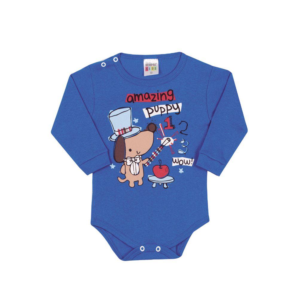 Body Manga Longa Cachorrinho Infantil Menino Azul