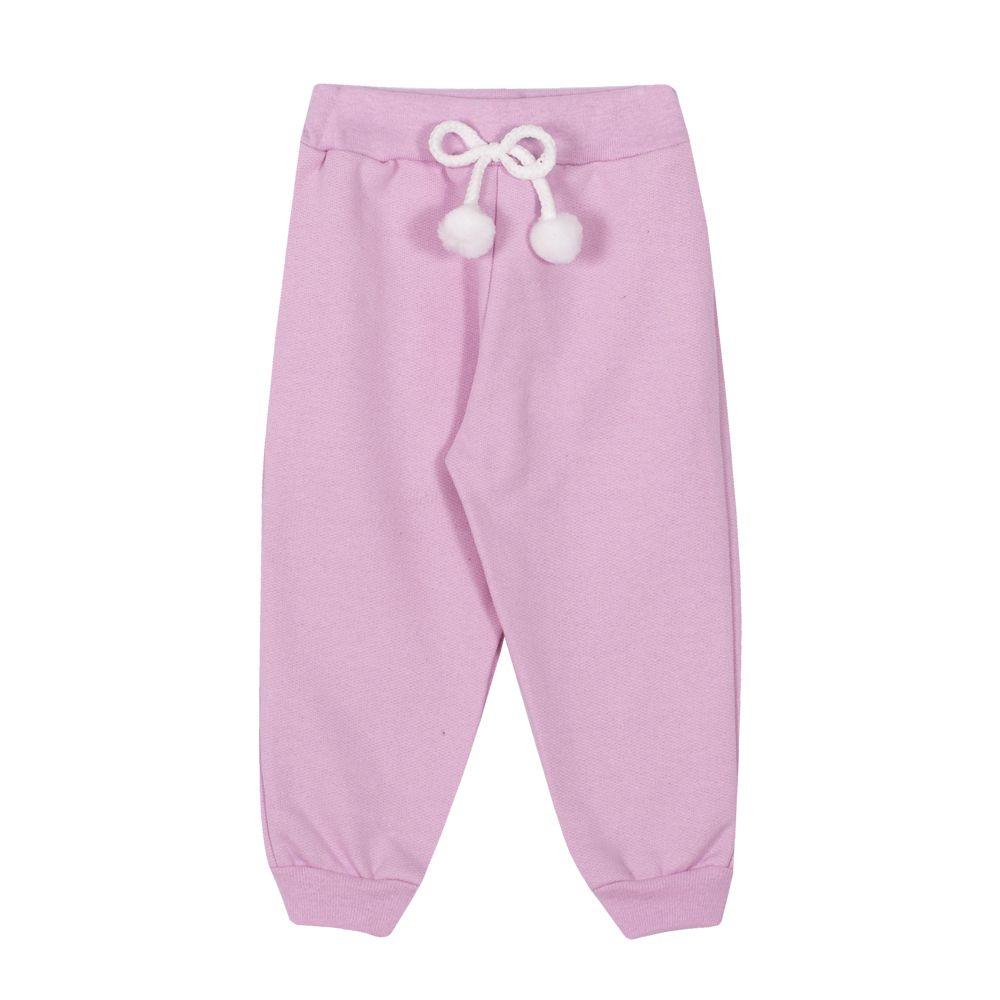Calça Jogger de Moletom Infantil Menina Rosa Claro