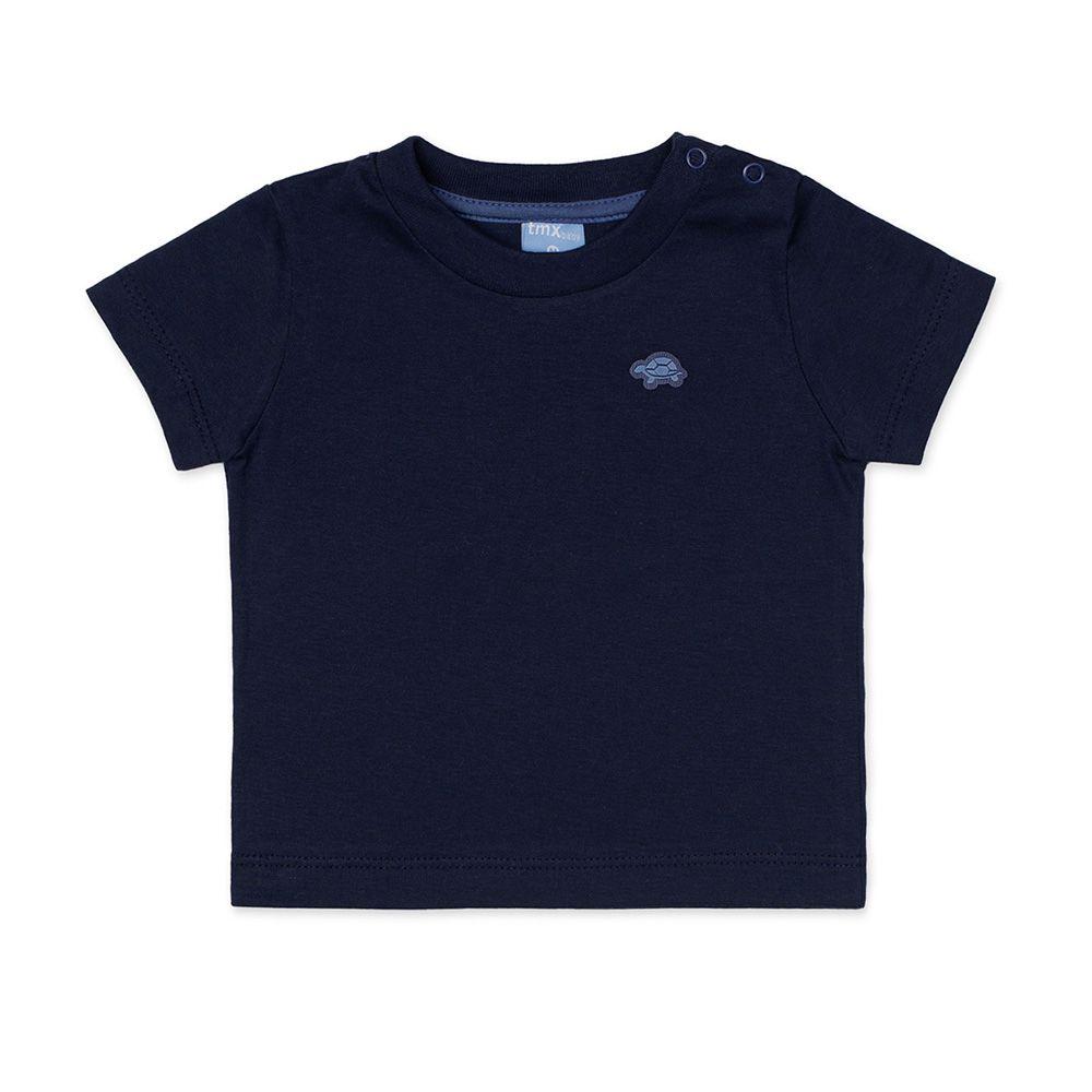 Camiseta Básica Manga Curta Infantil Menino Marinho