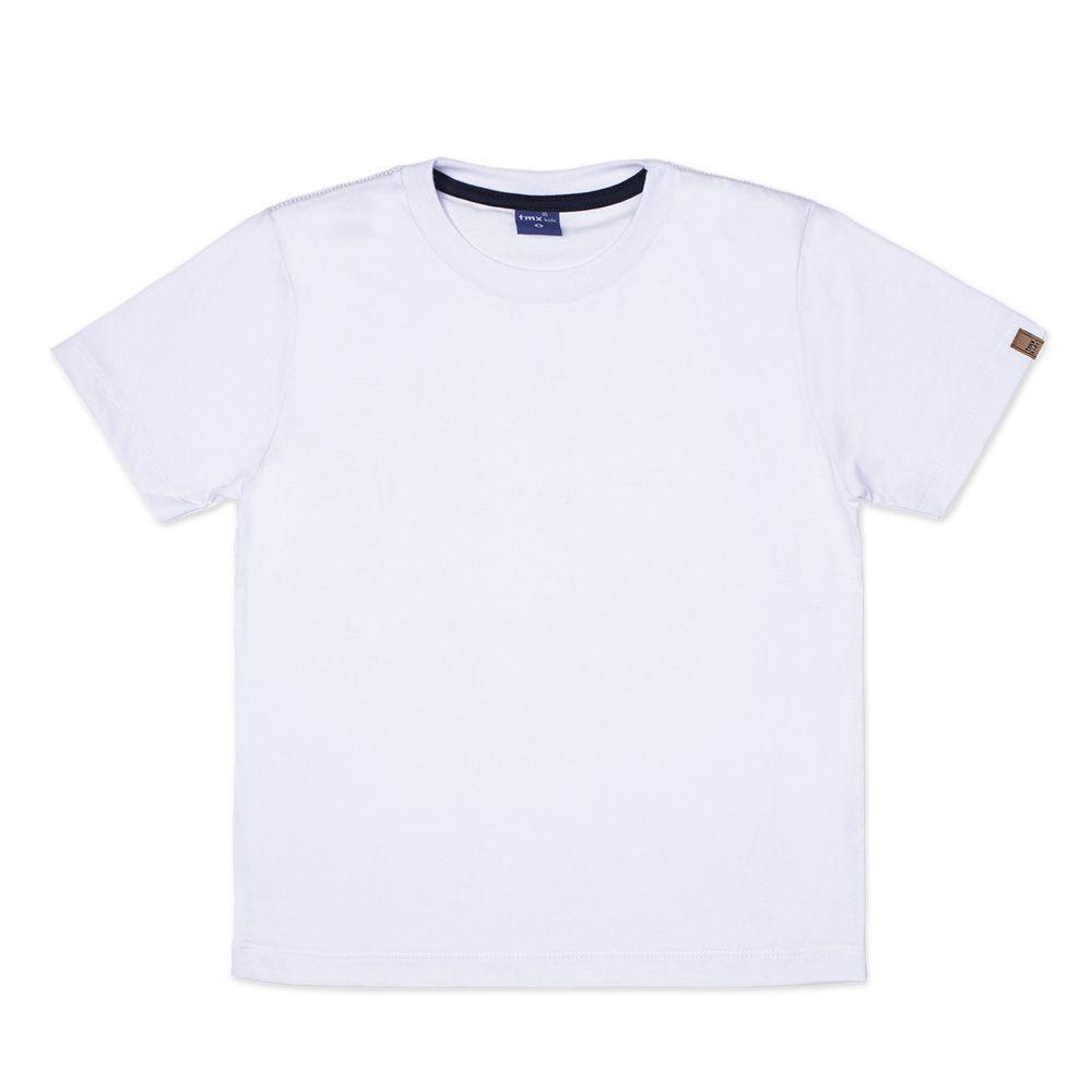 Camiseta Básica Manga Curta Infantil Menino Branca