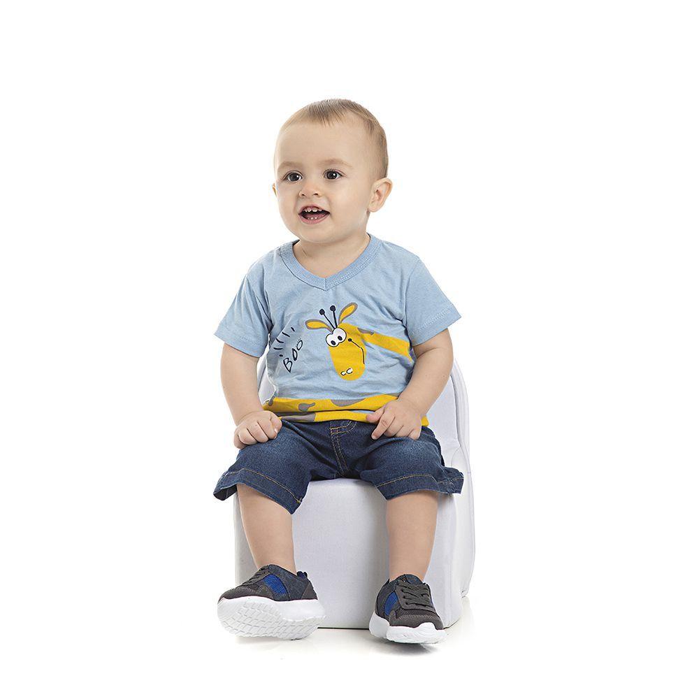 Camiseta Girafa Infantil Menino Azul