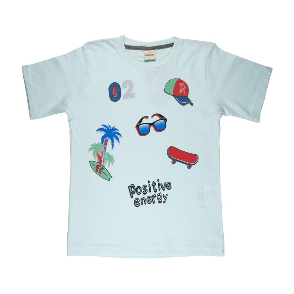 Camiseta Infantil Menino Manga Dobrada Menta