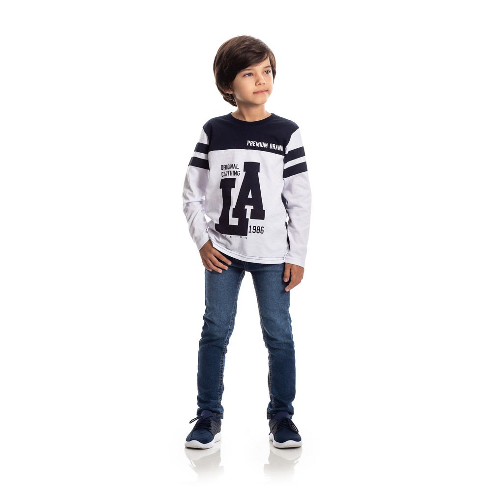 Camiseta Manga Longa LA Infantil Menino Branco