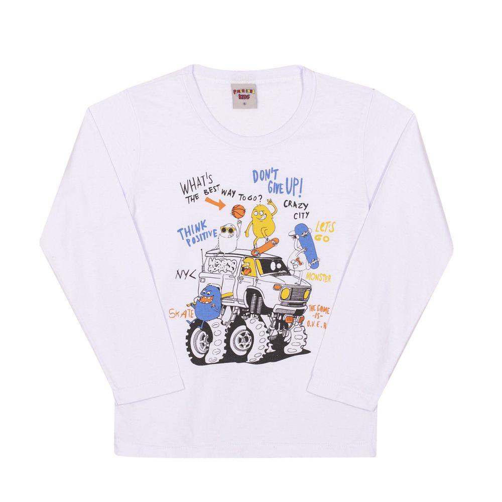 Camiseta Manga Longa Monstrinhos Radicais Infantil Menino Branco