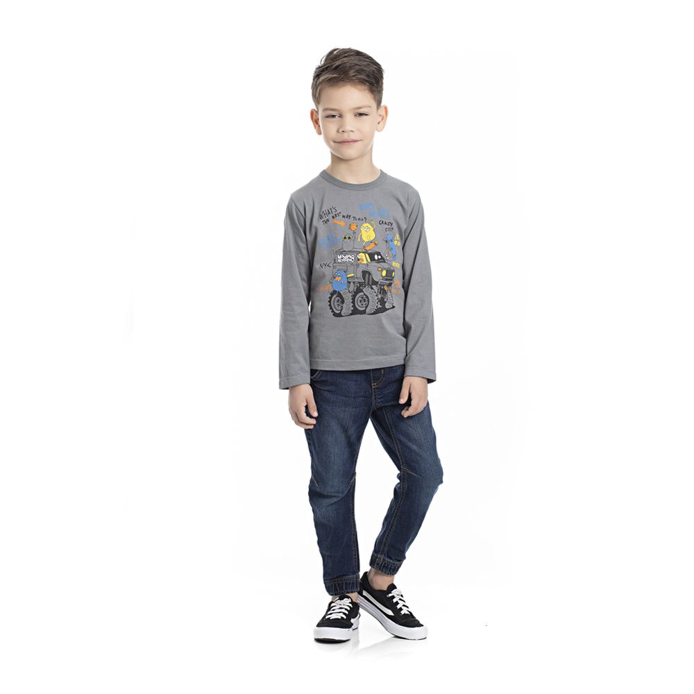 Camiseta Manga Longa Monstrinhos Radicais Infantil Menino Cinza