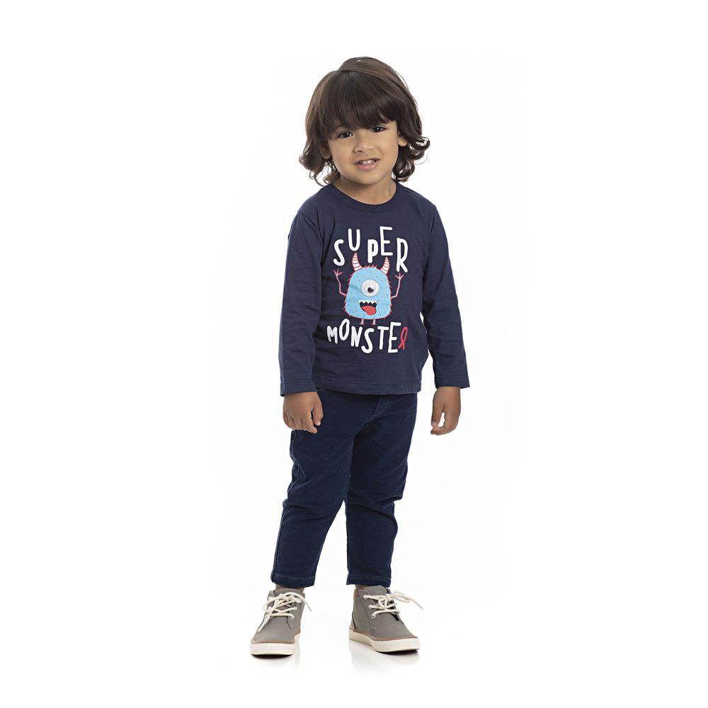 Camiseta Manga Longa Monstro Infantil Menino Azul