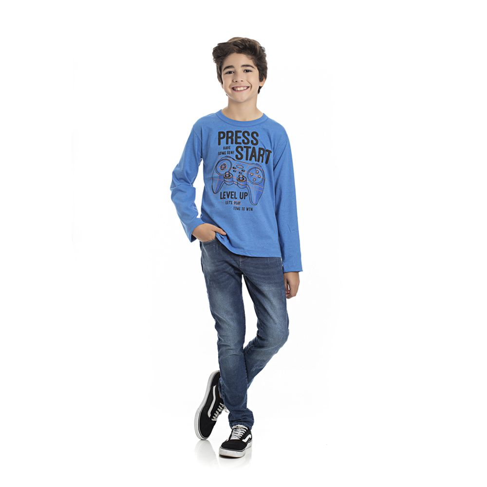 Camiseta Manga Longa Start Infantil Menino Azul