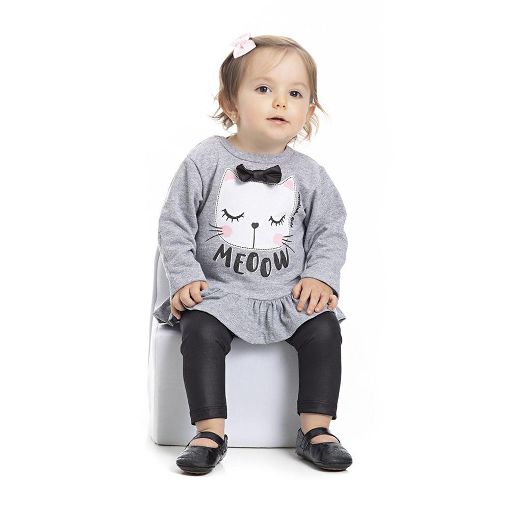 Conjunto Bata e Calça Gatinho Infantil Menina Mescla