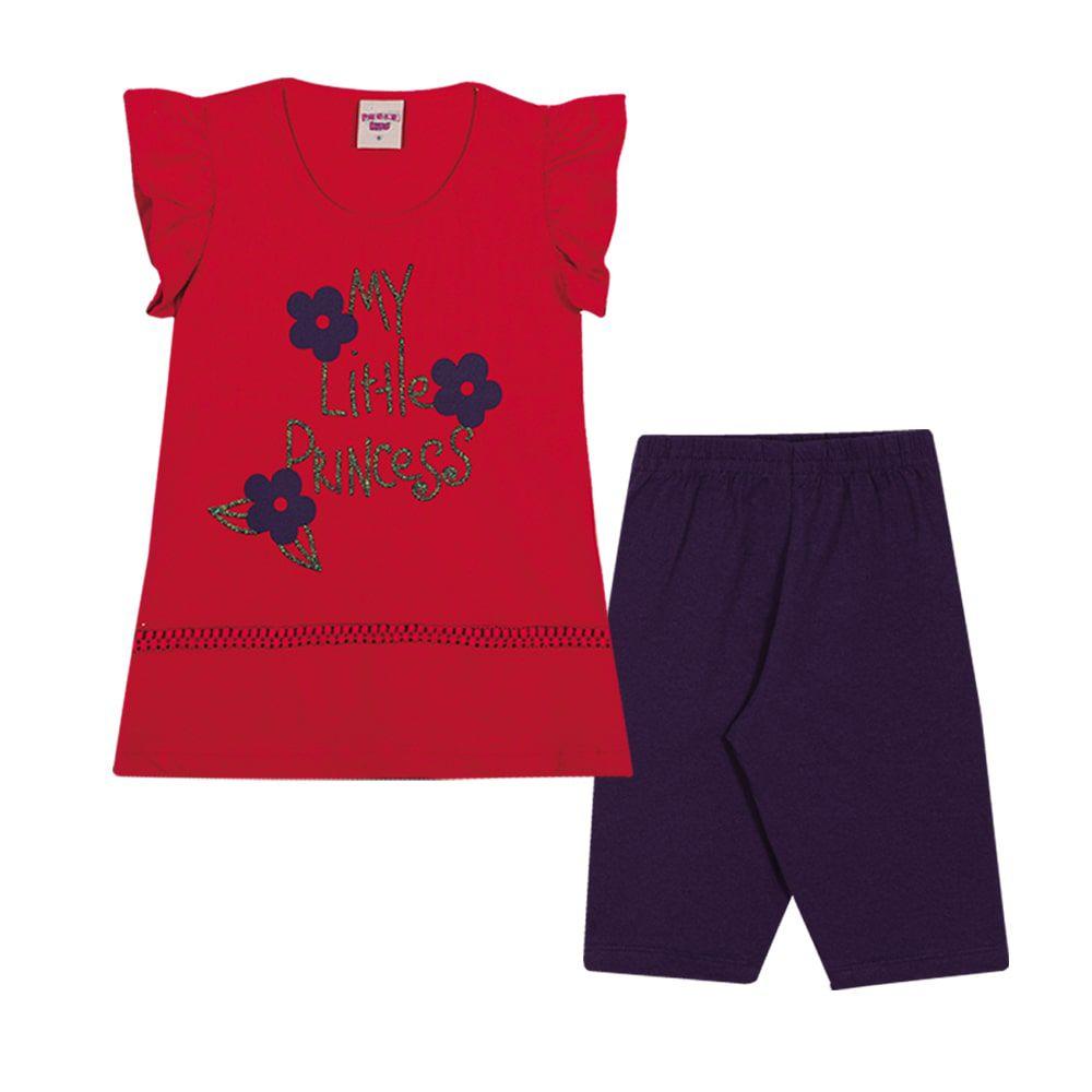 Conjunto Bata e Ciclista Infantil Menina Vermelho