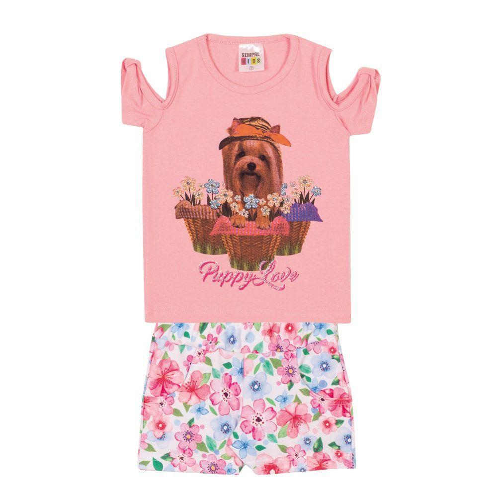 Conjunto Blusa Cachorrinho e Short Infantil Menina Rosa