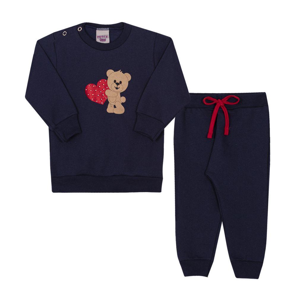 Conjunto Blusa e Calça de Moletom Infantil Menina Marinho