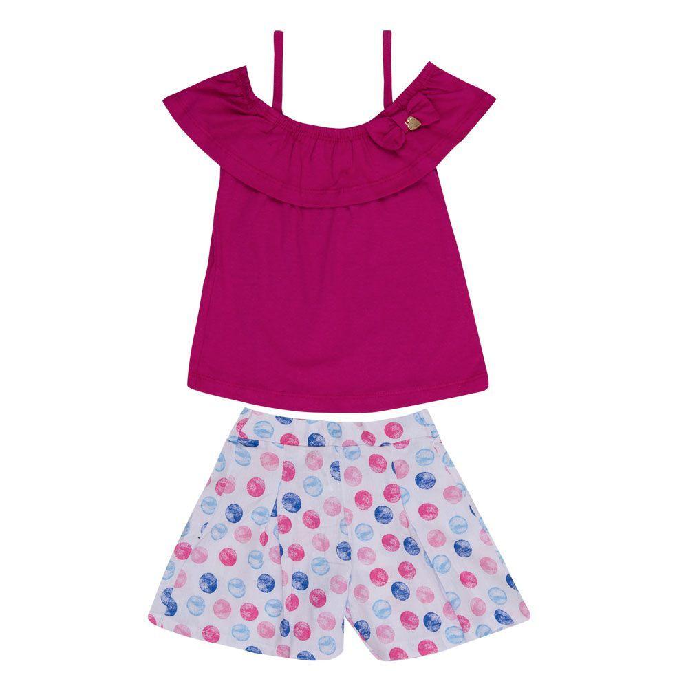 Conjunto Blusa e Short Bolinhas Infantil Menina Pink