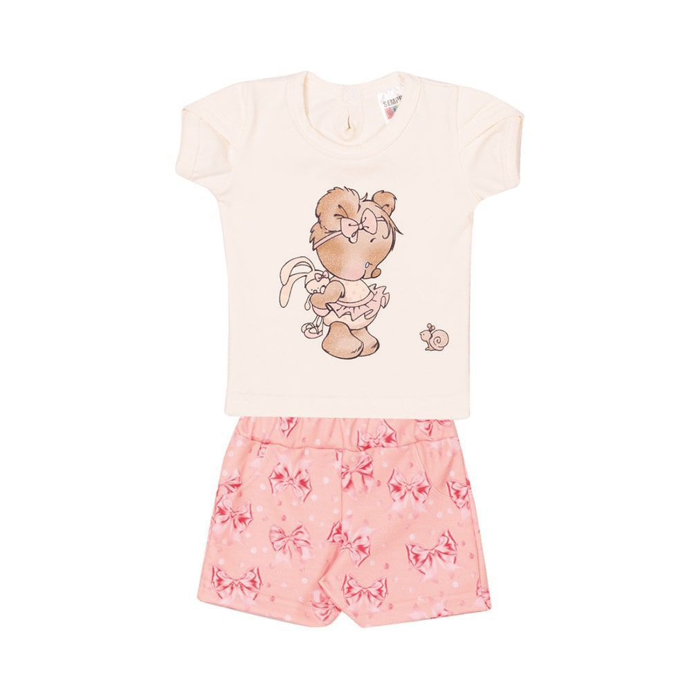 Conjunto Blusa e Short Laços Infantil Menina Marfim