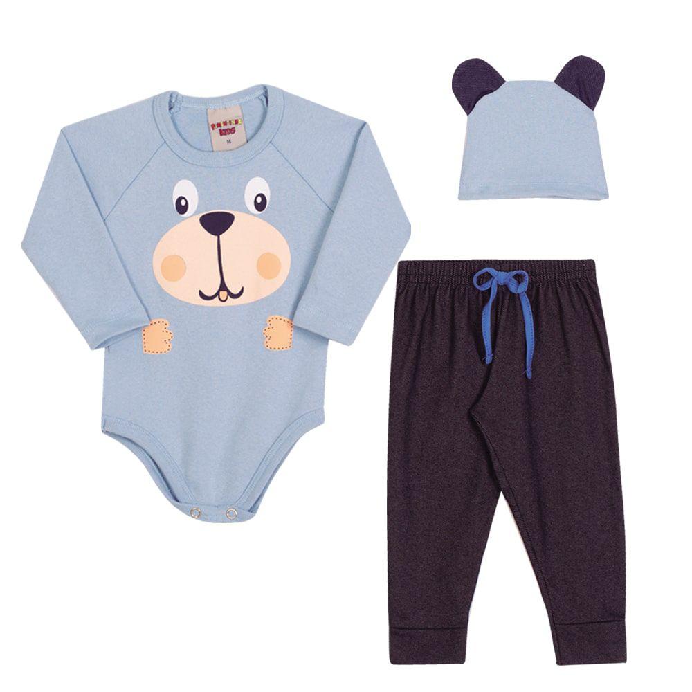 Conjunto Body Calça e Touca Infantil Menino Azul