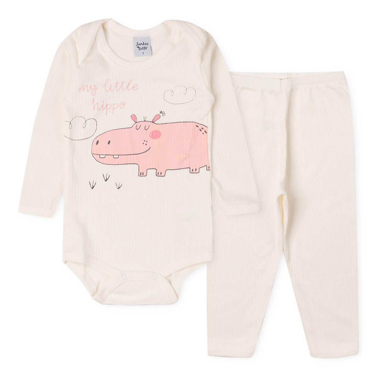 Conjunto Body Longo e Calça Suedine Hipopótamo Infantil Menina Off White