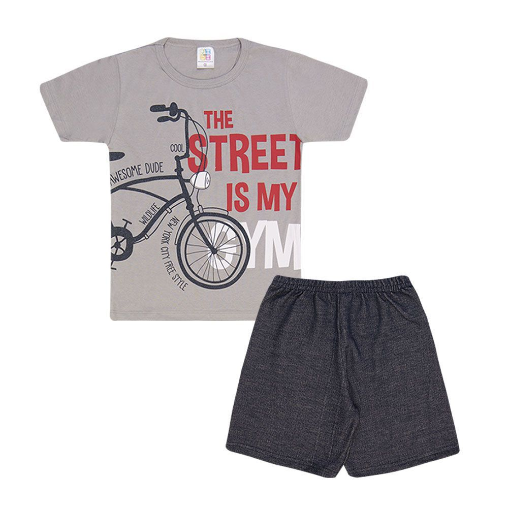 Conjunto Camiseta Bike e Bermuda Moletinho Infantil Menino