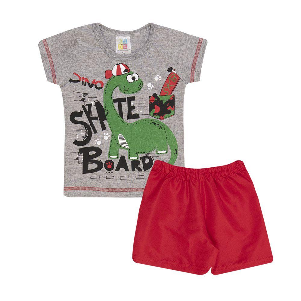 Conjunto Camiseta Dino Skate e Short Infantil Menino
