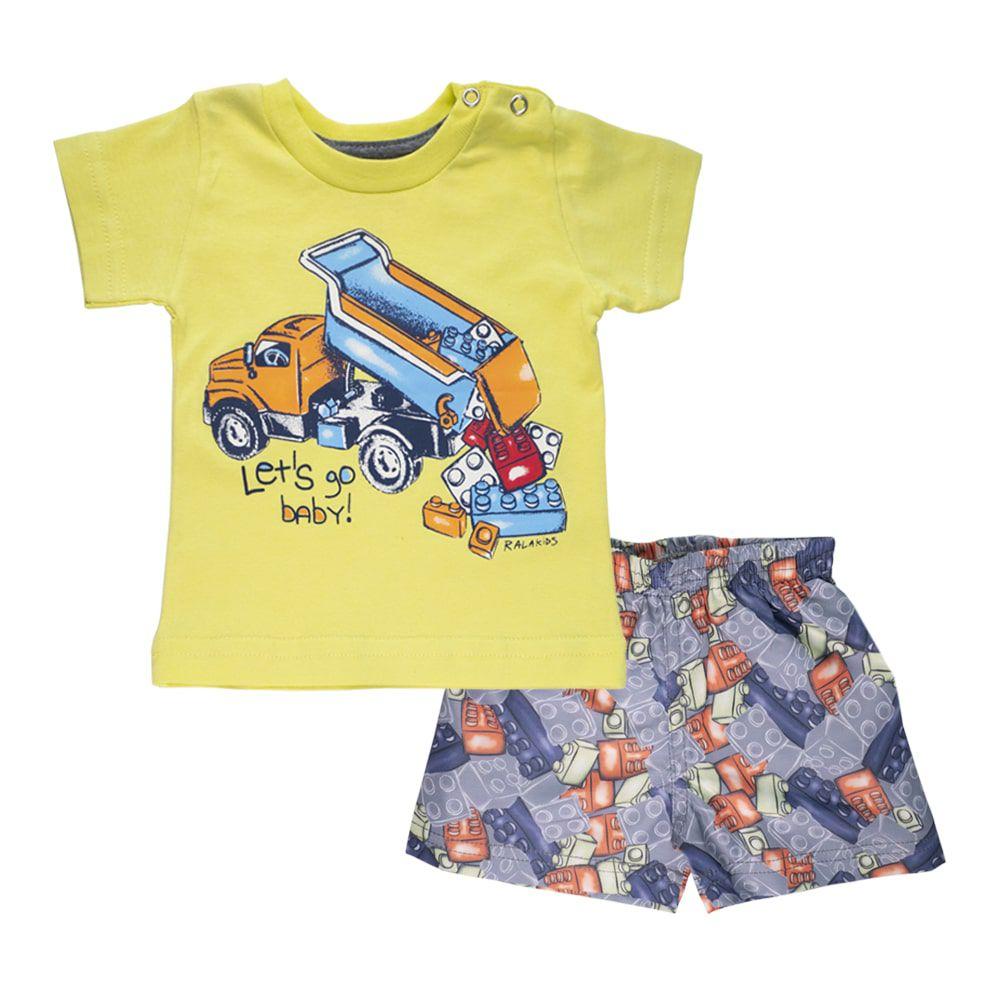 Conjunto Camiseta e Bermuda Blocos Infantil Menino Amarelo