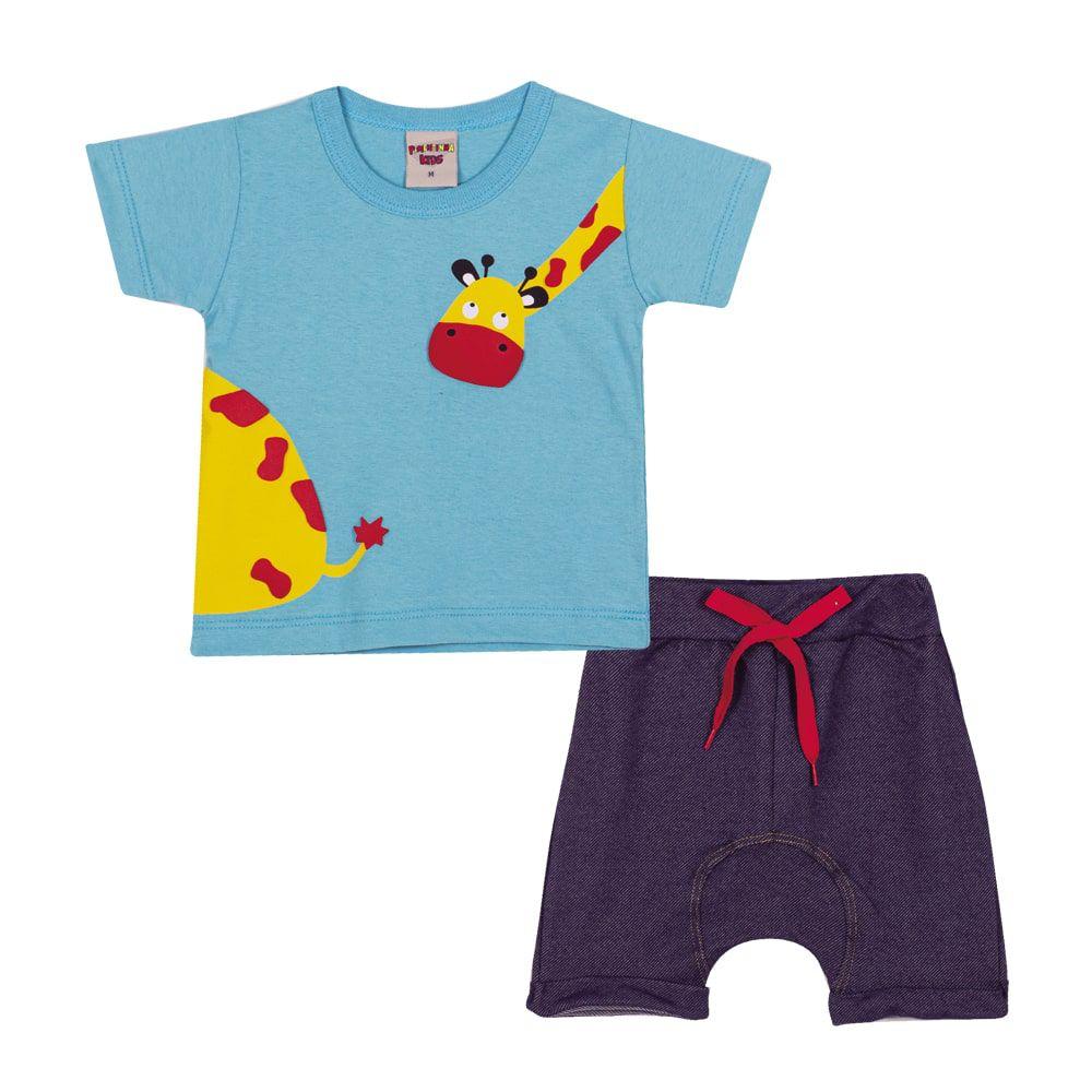 Conjunto Camiseta e Bermuda Saruel Infantil Menino Azul Claro