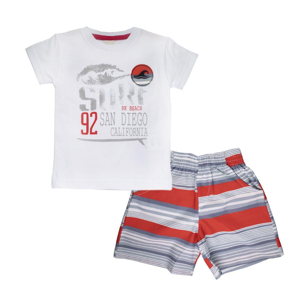Conjunto Camiseta e Bermuda Surf Infantil Menino Branco