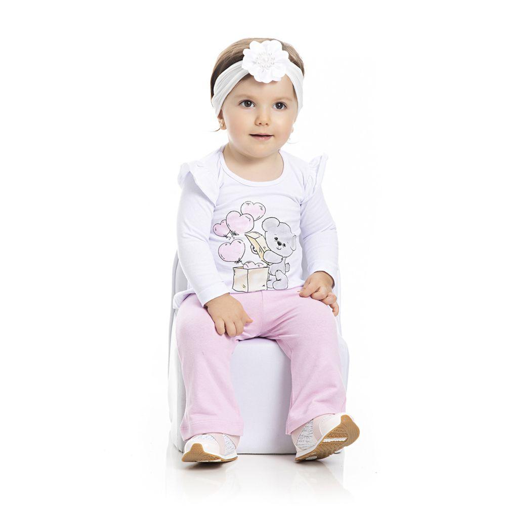 Conjunto Camiseta e Calça Ursinho Infantil Menina Branco