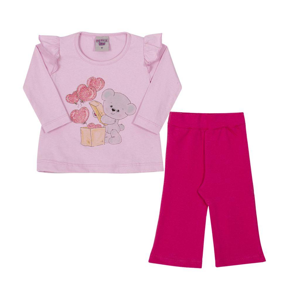 Conjunto Camiseta e Calça Ursinho Infantil Menina Rosa Claro