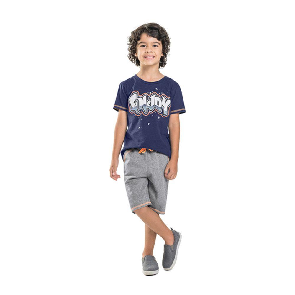 Conjunto Camiseta Enjoy e Bermuda Infantil Menino Marinho