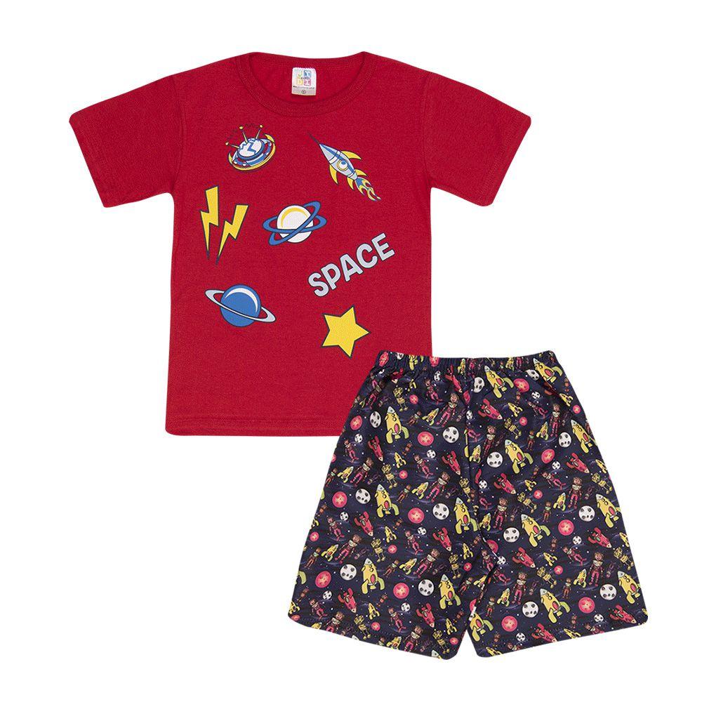 Conjunto Camiseta Espaço e Short Tactel Infantil Menino