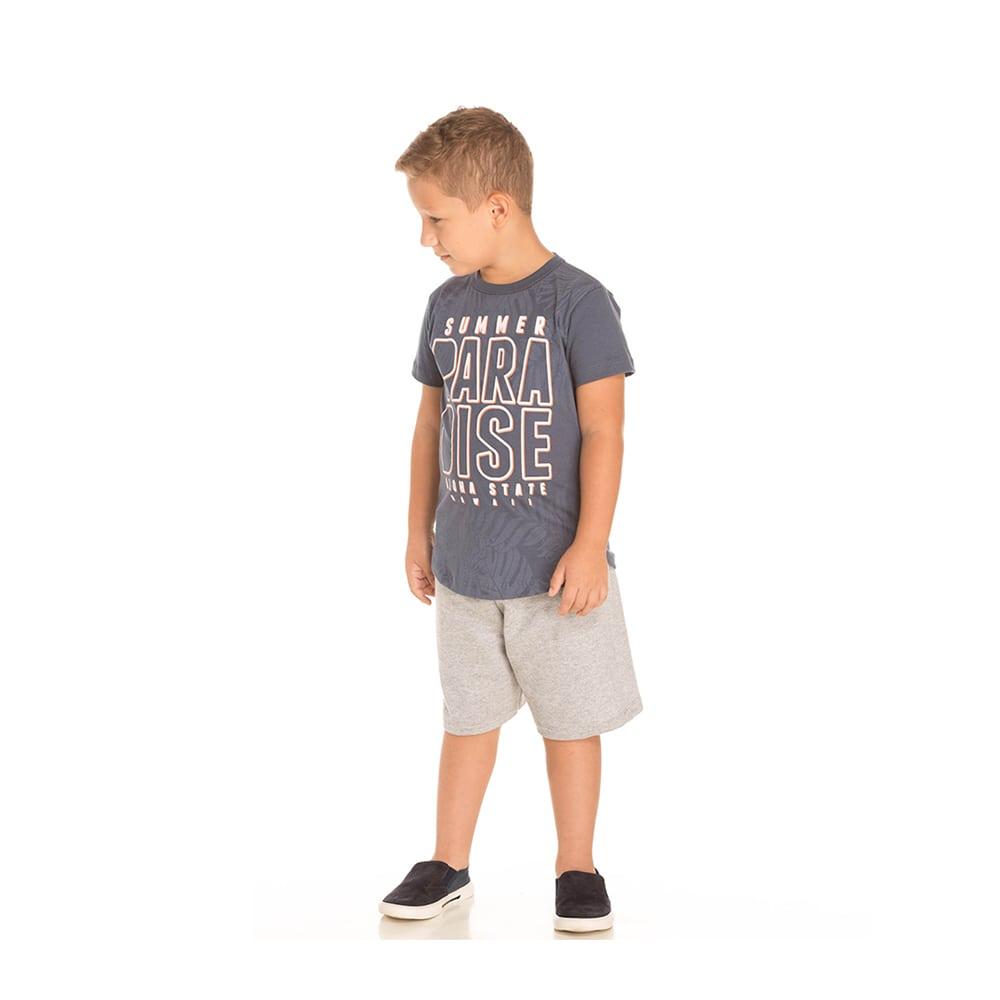 Conjunto Camiseta Fraldada e Bermuda Moletinho Infantil Menino Cinza