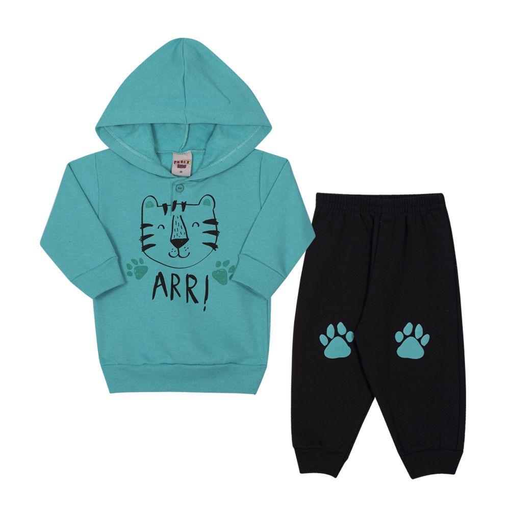 Conjunto Casaco e Calça de Moletom Tigre Infantil Menino Azul Água