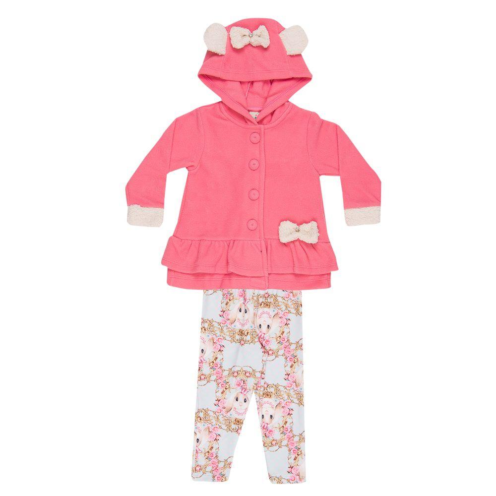 Conjunto Casaco e Legging Orelinhas Infantil Menina Rosa