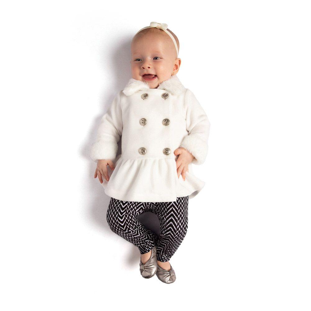Conjunto Casaco Microsoft e Legging Infantil Menina Branco