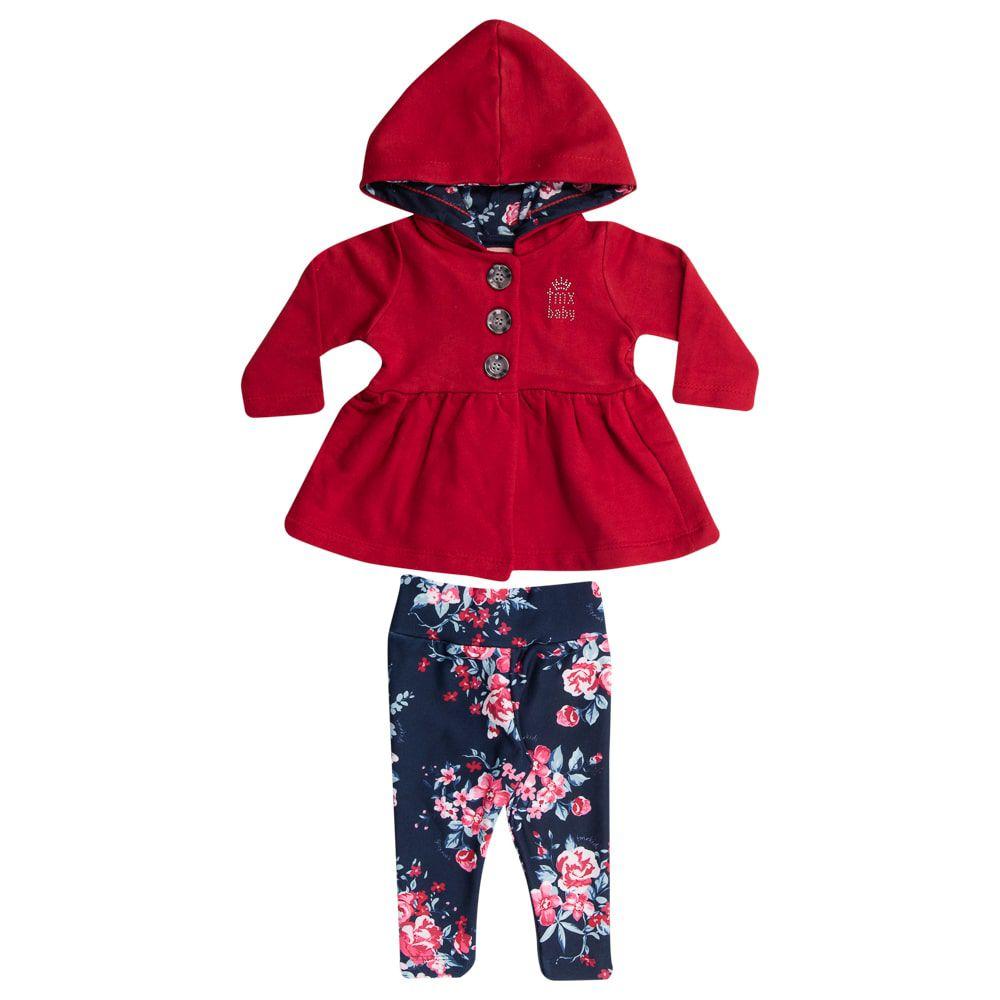 Conjunto Casaco Moletom Legging Floral Infantil Menina Rubi