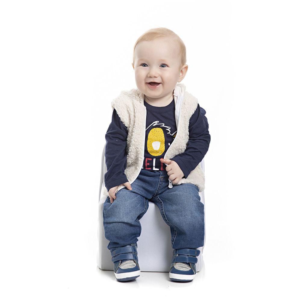 Conjunto Colete e Camiseta Ursinho Infantil Menino Azul Marinho