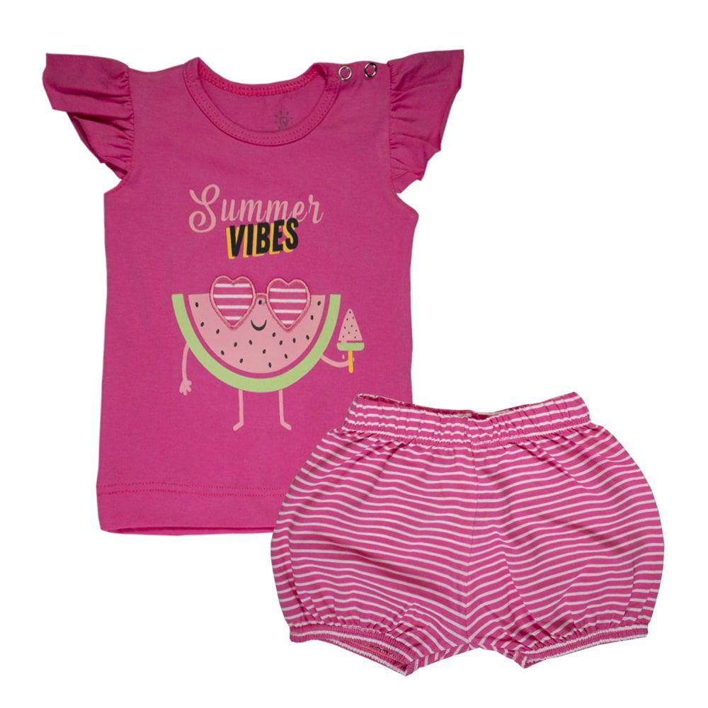 Conjunto Infantil Menina Blusa Melancia e Shorts Listrado Pink