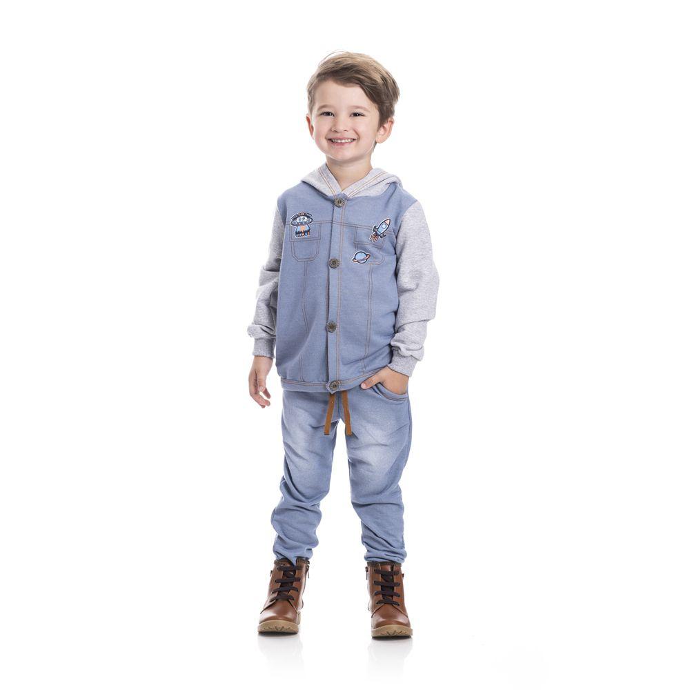 Conjunto Moletinho Casaco e Calça Infantil Menino Jeans Claro