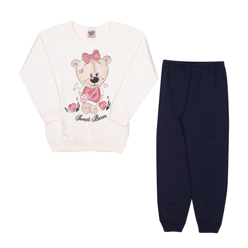 Conjunto Moletom Casaco e Calça Urso Fofinho Infantil Menina Marfim