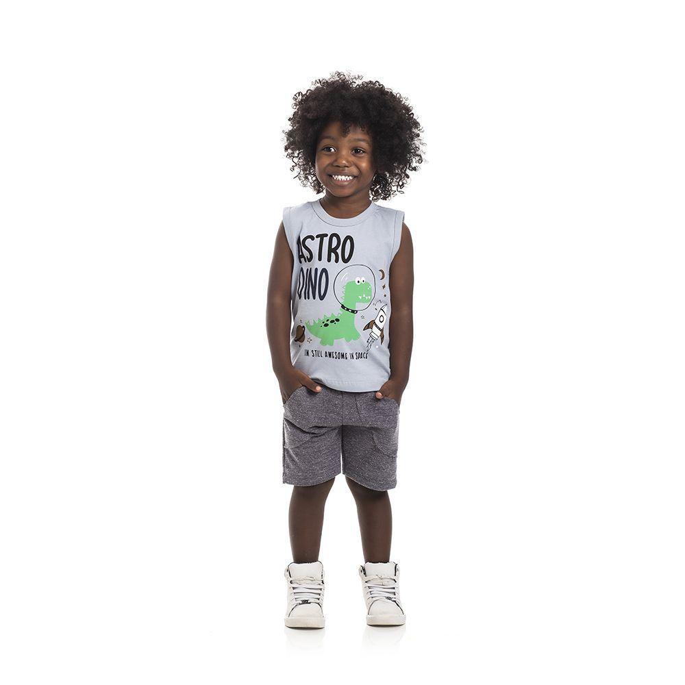 Conjunto Regata AstroDino e Bermuda Moletom Infantil Menino