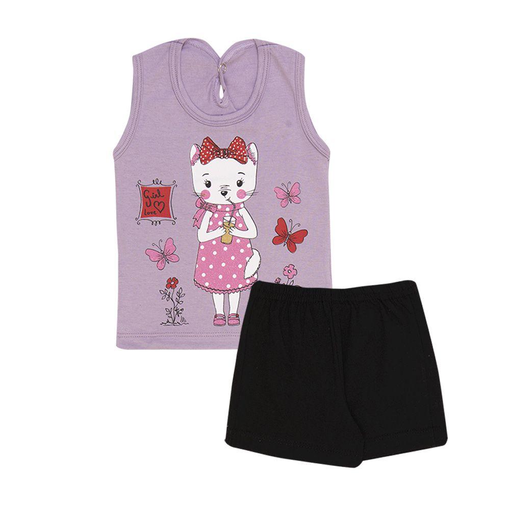Conjunto Regata Gatinho e Short Infantil Menina