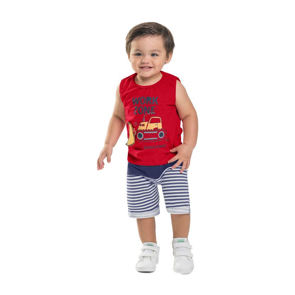 Conjunto Regata e Bermuda Infantil Menino Vermelho