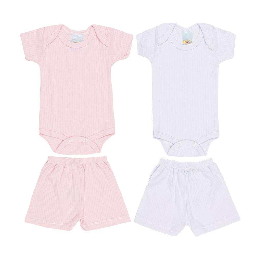 Kit 2 Conjuntos Suedine Branco e Rosa Infantil Menina
