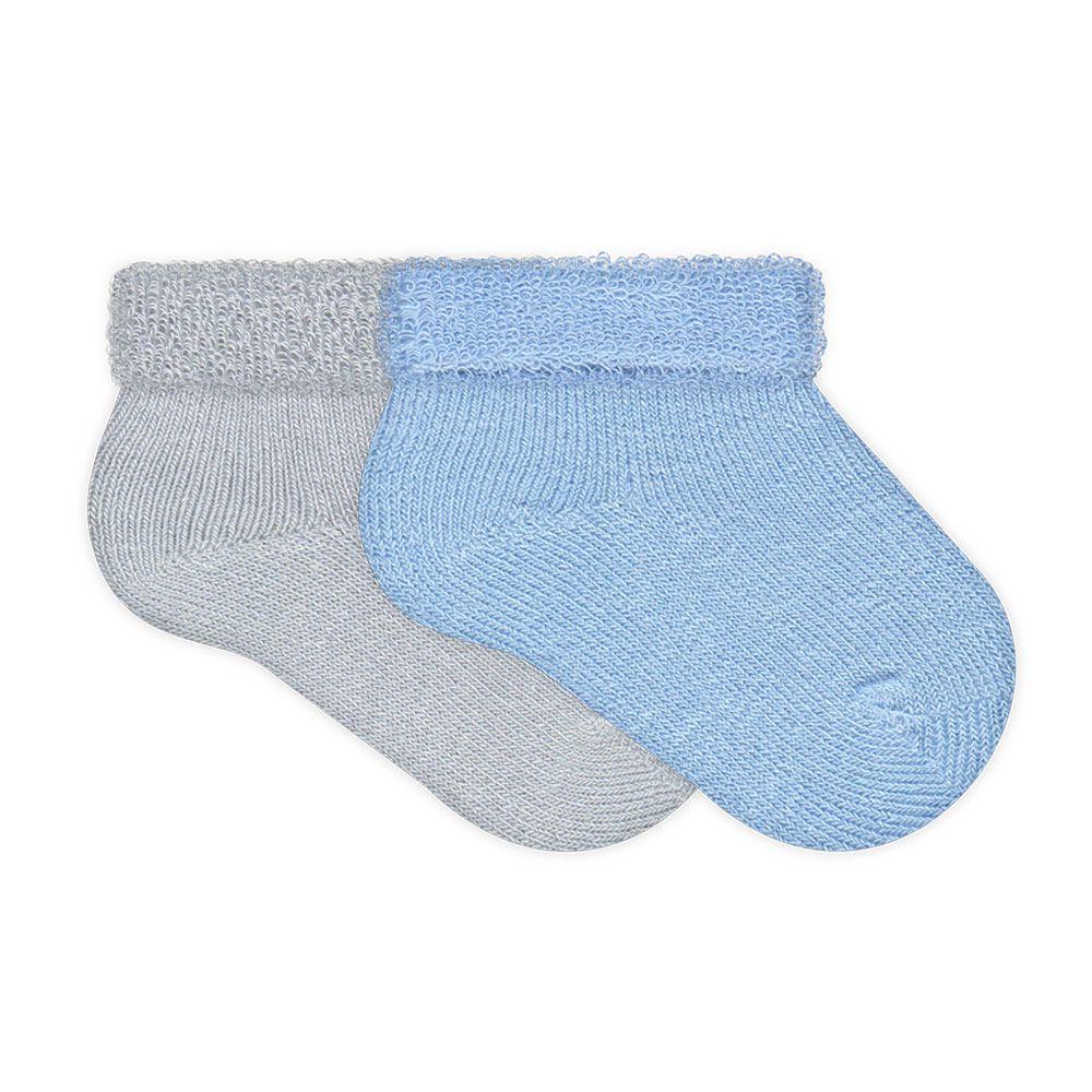 kit 2 Pares de Meias Soft Recém Nascido Menino Azul e Mescla