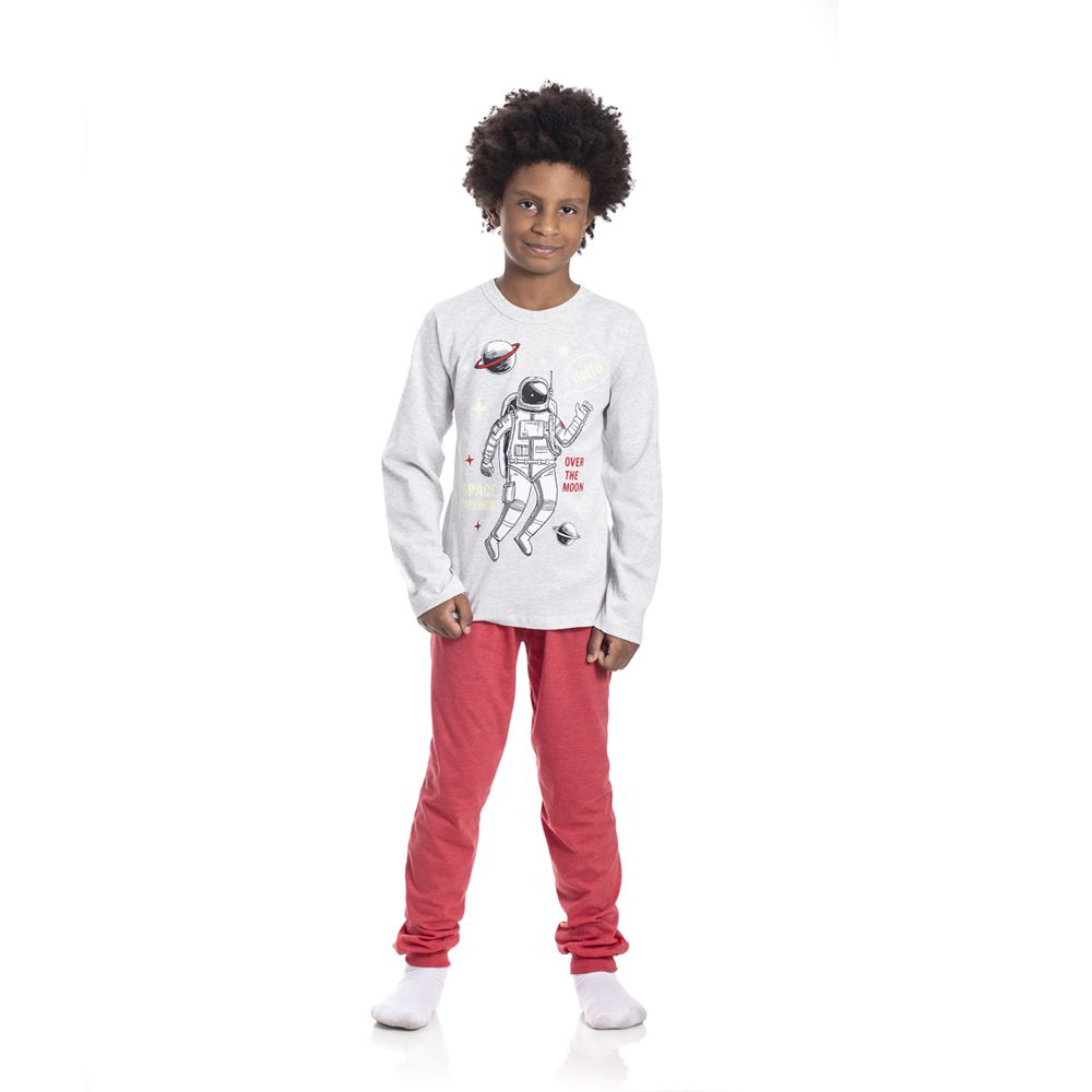 Pijama Astronauta Hello Brilha no Escuro Infantil Menino Mescla