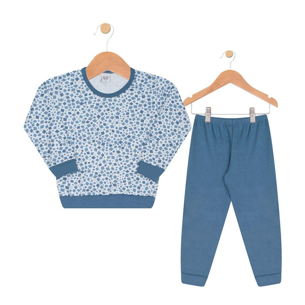 Pijama Infantil Menino Geométrico Azul