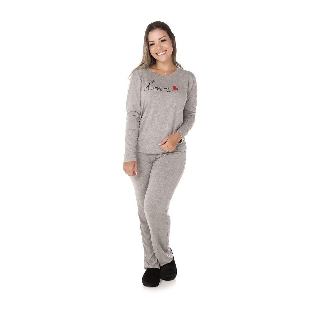 Pijama Longo Love Adulto Feminino Mescla