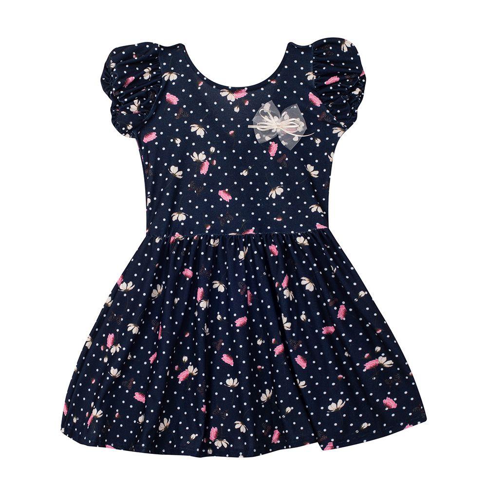 Vestido Crepe Flores Infantil Menina
