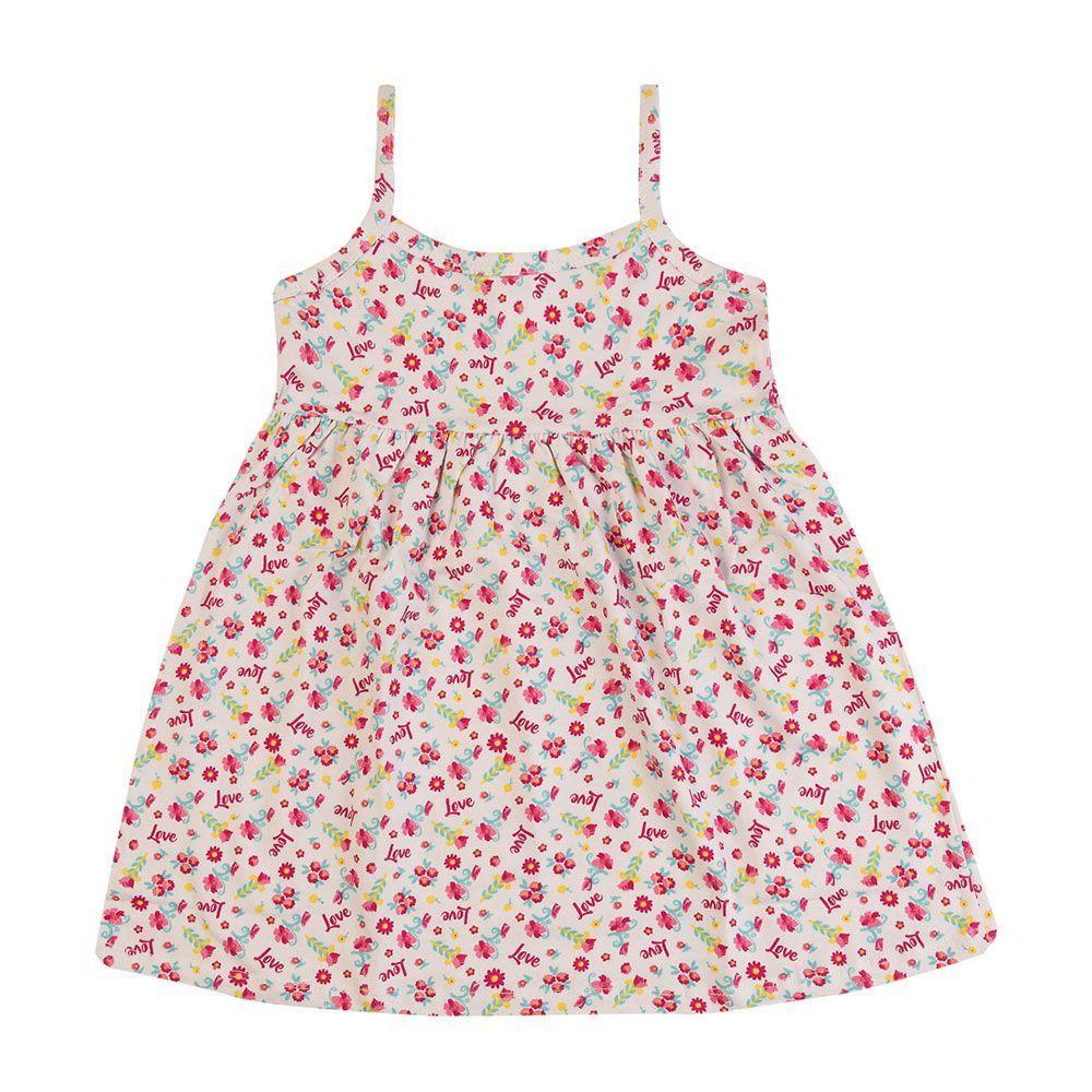 Vestido Florzinhas Love Vermelho Infantil Menina