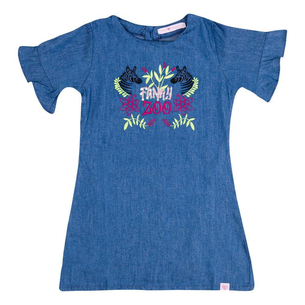 Vestido Jeans Zoo Infantil Menina Marinho